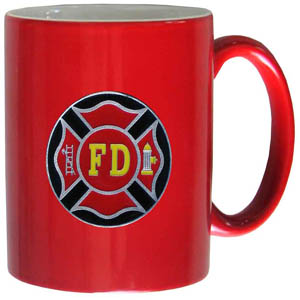 Firefighter 11 oz Mug - This ceramic coffee mug holds 11 oz with a vibrant 2 tone look and features an enameled metal emblem.