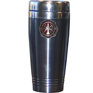 Firefighter Travel Mug - Our firefighter travel mug is made of stainless steel, has a 14 oz capacity and features a hand enameled metal logo emblem.