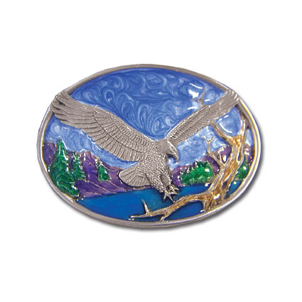 Belt Buckle - Small Eagle Landing - This finely sculpted and hand enameled belt buckle contains exceptional 3D detailing. Siskiyou's unique buckle designs often become collector's items and are unequaled with the best craftsmanship.