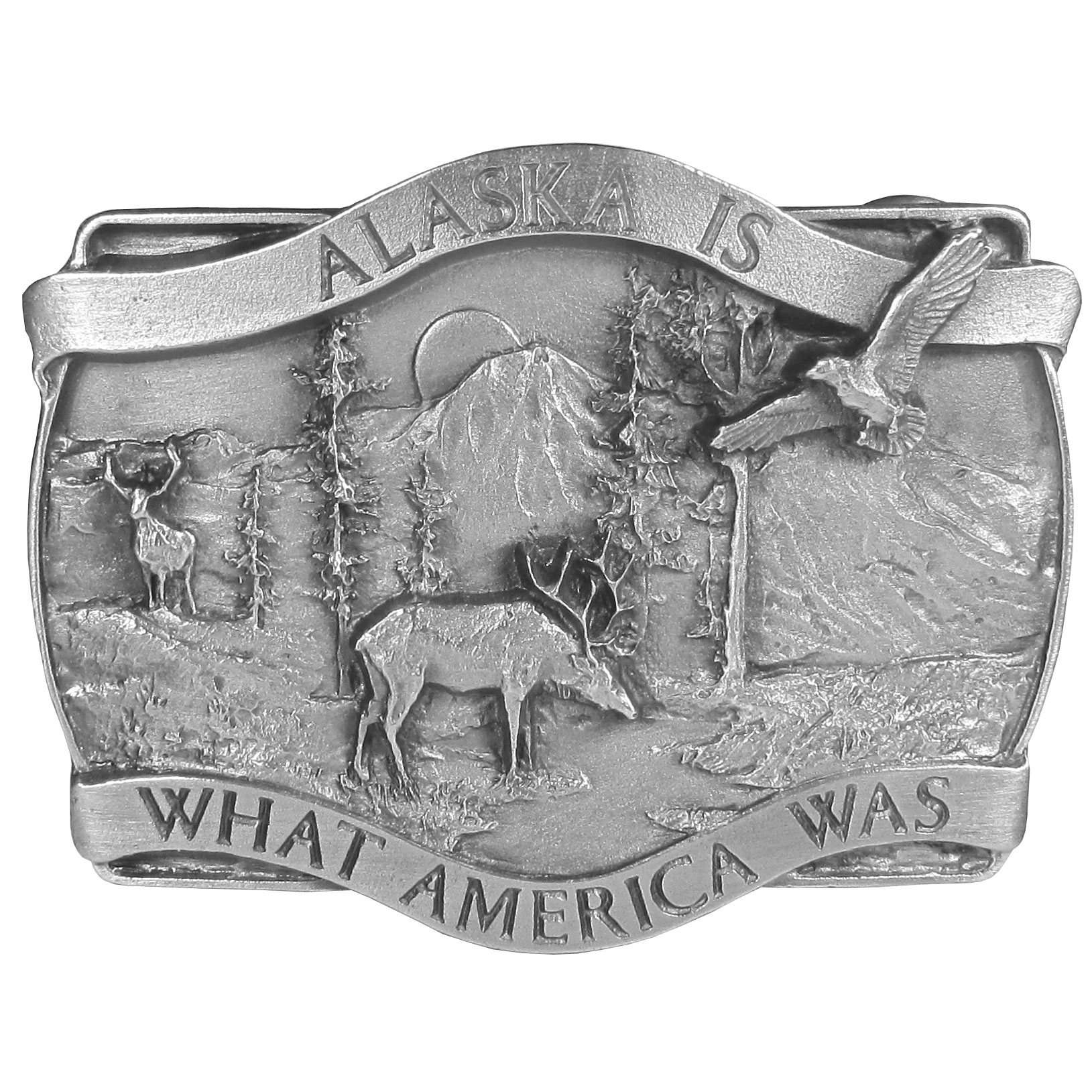 "Alaska Is What America Antiqued Belt Buckle - ""This beautiful buckle celebrates the untouched Alaskan wilderness and proud American tradition of the state of Alaska.  """"Alaska is what America was"""" is written in bold across the front with an elk, an eagle, mountains, the sun, trees and a river."""
