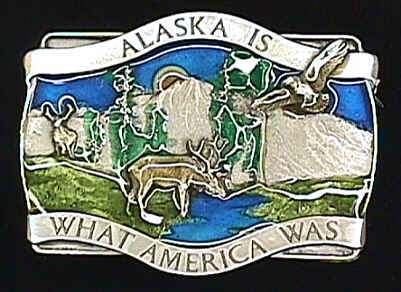 Belt Buckle - Alaska Is What America - This finely sculpted and hand enameled belt buckle contains exceptional 3D detailing. Siskiyou's unique buckle designs often become collector's items and are unequaled with the best craftsmanship.