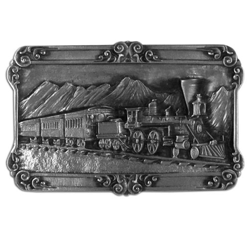 Belt Buckle - Steam Locomotive - Train  - Finely sculpted and intricately designed Steam Locomotive Train belt buckle. Our unique designs often become collector's items. Check out our entire line of  belt buckles.