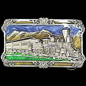 Belt Buckle - Steam Locomotive -Train  - This finely sculpted and hand enameled Steam Locomotive -Train belt buckle contains exceptional 3D detailing. Siskiyou's unique buckle designs often become collector's items and are unequaled with the best craftsmanship.
