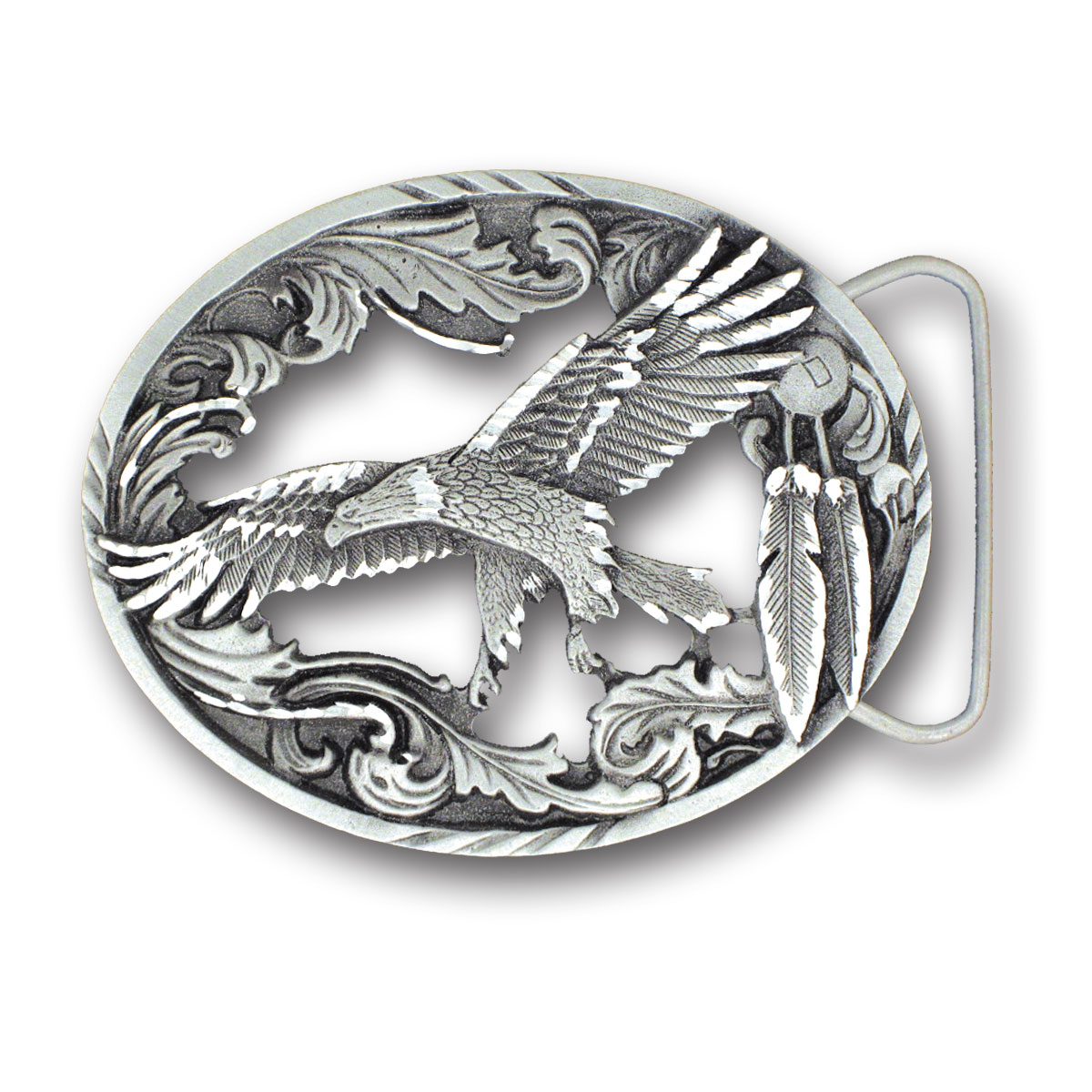 Belt Buckle - Eagle with Feathers - This finely sculpted and diamond cut and cutout  belt buckle contains exceptional 3D detailing. Siskiyou's unique buckle designs often become collector's items and are unequaled with the best craftsmanship.