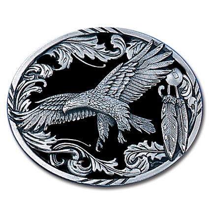 Belt Buckle - Scroll Eagle (Diamond Cut) - This finely sculpted belt buckle contains exceptional 3D detailing and diamond cut accents. Siskiyou's unique buckle designs often become collector's items and are unequaled with the best craftsmanship.
