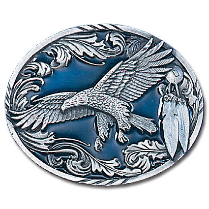 Belt Buckle - Western Eagle/Feathers  - This finely sculpted and hand enameled belt buckle contains exceptional 3D detailing. Siskiyou's unique buckle designs often become collector's items and are unequaled with the best craftsmanship.