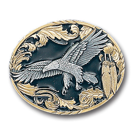 Belt Buckle - Eagle with Feathers - This finely sculpted belt buckle contains exceptional 3D detailing and is finished with gold vivatone. Siskiyou's unique buckle designs often become collector's items and are unequaled with the best craftsmanship.