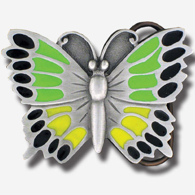 Belt Buckle - Butterfly Green - This finely sculpted and hand enameled belt buckle contains exceptional 3D detailing. Siskiyou's unique buckle designs often become collector's items and are unequaled with the best craftsmanship.