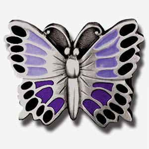 Belt Buckle - Purple Butterfly - This finely sculpted and hand enameled belt buckle contains exceptional 3D detailing. Siskiyou's unique buckle designs often become collector's items and are unequaled with the best craftsmanship.