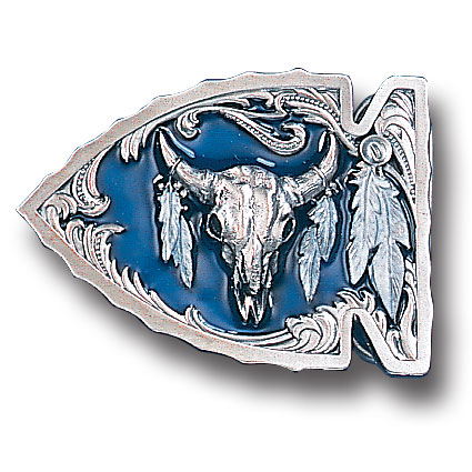 Belt Buckle - Buffalo Skull in Arrowhead  - This finely sculpted and hand enameled belt buckle contains exceptional 3D detailing. Siskiyou's unique buckle designs often become collector's items and are unequaled with the best craftsmanship.