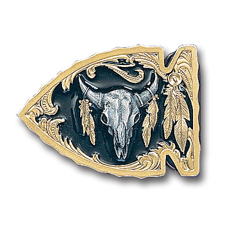 Belt Buckle - Buffalo Skull (Gold Vivatone) - This finely sculpted belt buckle contains exceptional 3D detailing and is finished with gold vivatone. Siskiyou's unique buckle designs often become collector's items and are unequaled with the best craftsmanship.