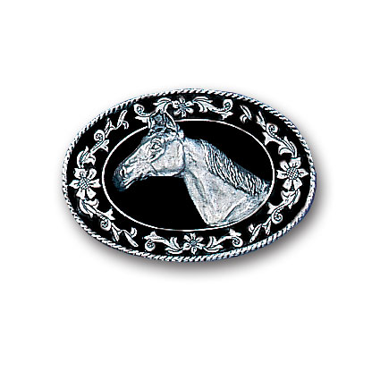 Belt Buckle - Horse Head (Diamond Cut) - This finely sculpted belt buckle contains exceptional 3D detailing and diamond cut accents. Siskiyou's unique buckle designs often become collector's items and are unequaled with the best craftsmanship.