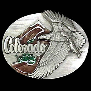 Belt Buckle - Colorado  State  - This finely sculpted and hand enameled belt buckle contains exceptional 3D detailing. Siskiyou's unique buckle designs often become collector's items and are unequaled with the best craftsmanship.