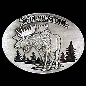 Belt Buckle - Yellowstone Moose  - This finely sculpted and hand enameled belt buckle contains exceptional 3D detailing. Siskiyou's unique buckle designs often become collector's items and are unequaled with the best craftsmanship.