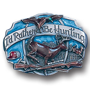 Hunter Belt Buckle - I'd Rather Be Hunting - This finely sculpted and hand enameled belt buckle contains exceptional 3D detailing. Siskiyou's unique buckle designs often become collector's items and are unequaled with the best craftsmanship. This Hunter Belt Buckle - I'd Rather Be Hunting is a great product for that golf expert or golf fan ! Check out all our other great NFL, NCAA, MLB ,NHL product line up. Thank you for shopping Crazed Out Sports!!