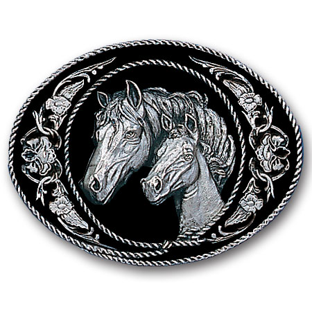 Belt Buckle - Horse and Colt  - This finely sculpted belt buckle contains exceptional 3D detailing and diamond cut accents. Siskiyou's unique buckle designs often become collector's items and are unequaled with the best craftsmanship.