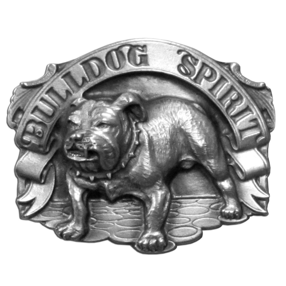 "Bulldog Spirit Antiqued Belt Buckle - ""Celebrate the tough bulldog spirit with this beautifully carved buckle featuring a bulldog with """"Bulldog Spirit"""" written in bold.  This exquisitely carved buckle is made of fully cast metal with a standard bale that fits up to 2"""" belts."""