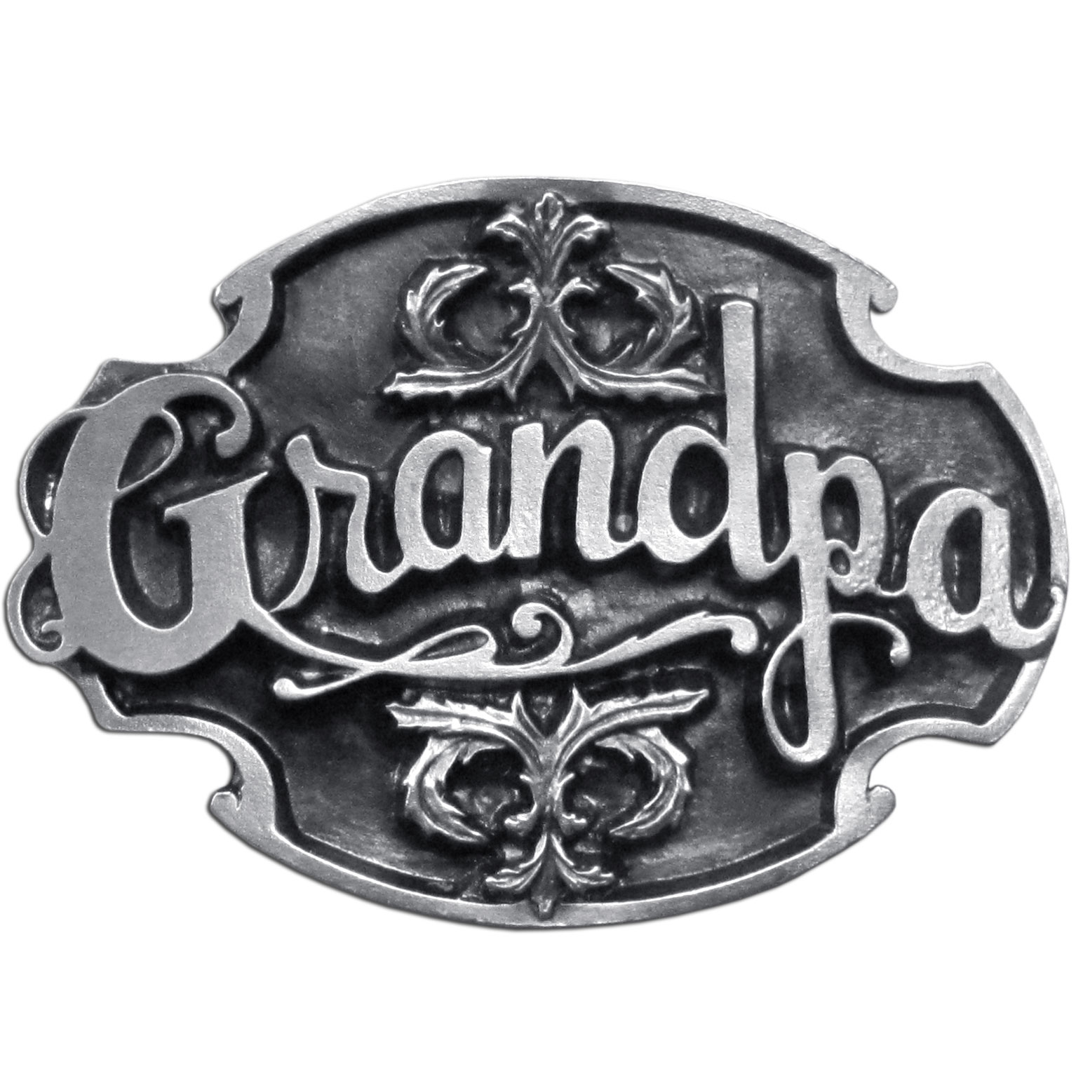 "Grandpa Antiqued Belt Buckle - ""Are you a grandpa?  This belt buckle is for you!  Show how proud you are of your grandchildren by wearing this """"Grandpa"""" belt buckle!  This is a great gift, on the back are the words, """"Grandpa...my best memories are those which you were a part."""""""