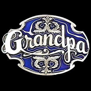 Belt Buckle - Grandpa with Scroll - This finely sculpted and hand enameled belt buckle contains exceptional 3D detailing. Siskiyou's unique buckle designs often become collector's items and are unequaled with the best craftsmanship.