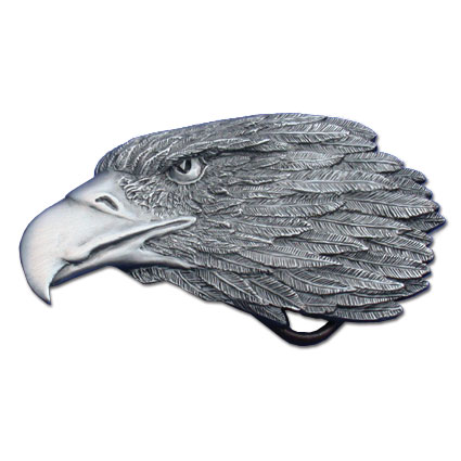 Belt Buckle - Eagle Profile - This finely sculpted pewter belt buckle contains exceptional 3D detailing. Siskiyou's unique buckle designs often become collector's items and are unequaled with the best in American craftsmanship.  Made in the USA.