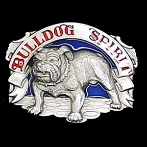 Belt Buckle - Bulldog Spirit - This finely sculpted and hand enameled belt buckle contains exceptional 3D detailing. Siskiyou's unique buckle designs often become collector's items and are unequaled with the best craftsmanship.
