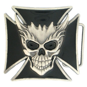 Skull and Maltese Cross Buckle - This finely detailed and hand enameled buckle is a must have for any Jim Beam collector. Check out our entire line of  licensed collectibles!