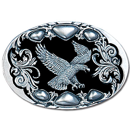 Belt Buckle - Flying Eagle (Diamond Cut) - This finely sculpted belt buckle contains exceptional 3D detailing and diamond cut accents. Siskiyou's unique buckle designs often become collector's items and are unequaled with the best craftsmanship.