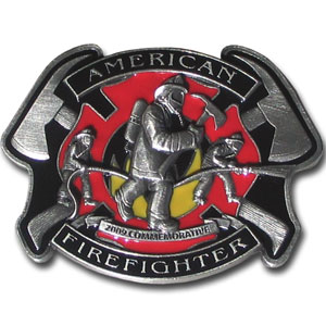 American Fire Fighter 2009 Limited Edition Enameled Buckle - Our limited edition American Fire Fighter buckle finely sculpted and hand painted depicting the heroism of fire fighters in action. Only 10,000 of this piece will be made, making it a great collector's item. Check out our entire line of  fire fighter merchandise!