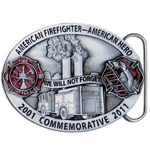 2011 Firefighter Commemorative Buckle - Siskiyou is proud to present our 2011 commemorative firefighter buckle that remembers the brave men and women of the NYPD for their heroic service during one of our nation's darkest hours. We will never forget. This quality buckle features a hand enameled finish.