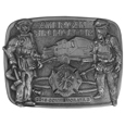 2016 Limited Edition Firefighter Antiqued Buckle - Our limited edition American Fire Fighter buckle finely sculpted and hand painted depicting the heroism of fire fighters in action.