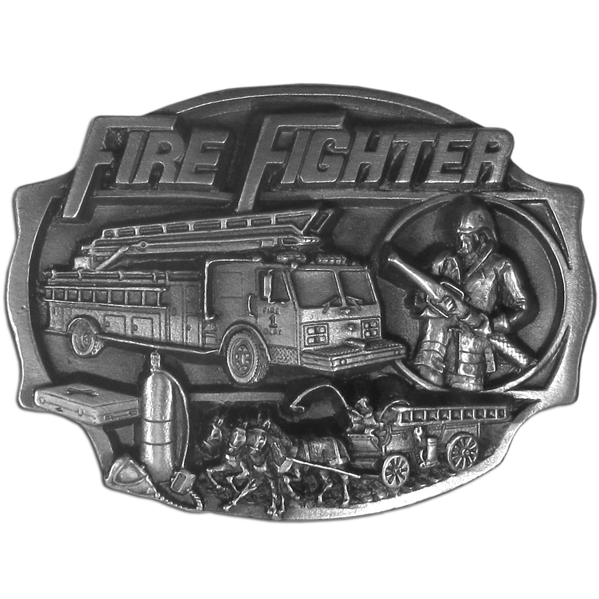 "Fire Fighter  Antiqued Belt Buckle - ""This belt buckle is perfect for the fire fighter!  """"Fire Fighter"""" is written in bold across the top.  There is a fire fighter with a fire hose in hand, a firetruck, an old fashioned, horse drawn fire wagon and an oxygen tank and medical box.  This exquisitely carved buckle is made of fully cast metal with a standard bale that fits up to 2"""" belts"""