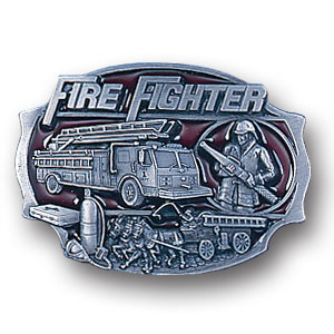 Belt Buckle - Fire Fighter  - This finely sculpted and hand enameled belt buckle contains exceptional 3D detailing. Siskiyou's unique buckle designs often become collector's items and are unequaled with the best craftsmanship.