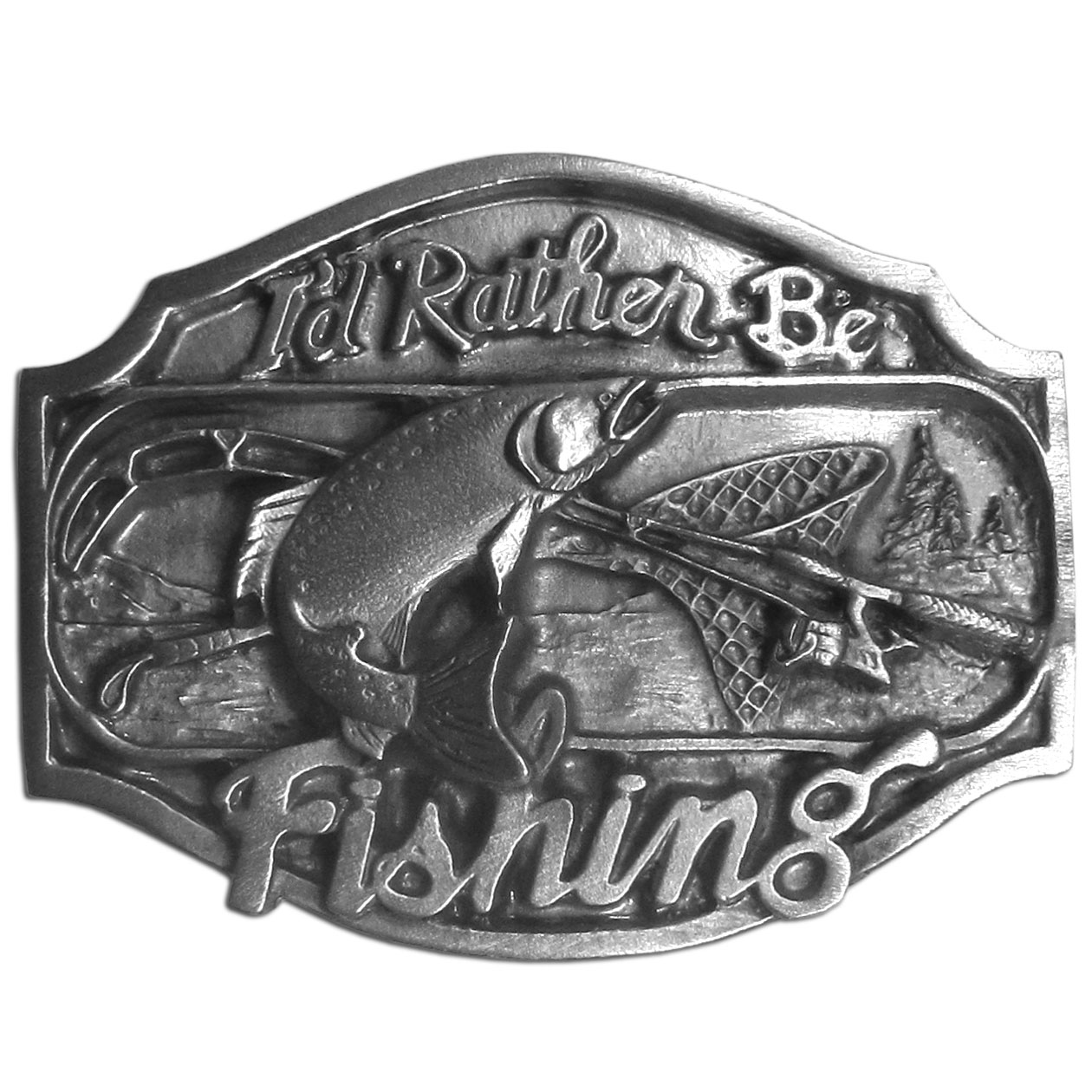 "I'd Rather Be Fishing  Antiqued Belt Buckle - ""I'd rather be fishing"" is written on this belt buckle with a fish jumping from the water, a fishing pole and a net. In the background are a lake and trees. These exquisitely carved buckles are made of fully cast metal, with a standard bale that fits up to 2"""" belts."""