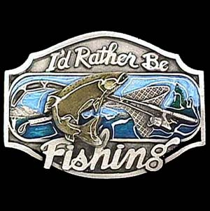 Belt Buckle - I'd Rather Be Fishing  - This finely sculpted and hand enameled  I'd Rather Be Fishing belt buckle contains exceptional 3D detailing. Siskiyou's unique buckle designs often become collector's items and are unequaled with the best craftsmanship.