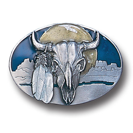 Belt Buckle - Buffalo Skull/Feathers - This finely sculpted and hand enameled belt buckle contains exceptional 3D detailing. Siskiyou's unique buckle designs often become collector's items and are unequaled with the best craftsmanship.