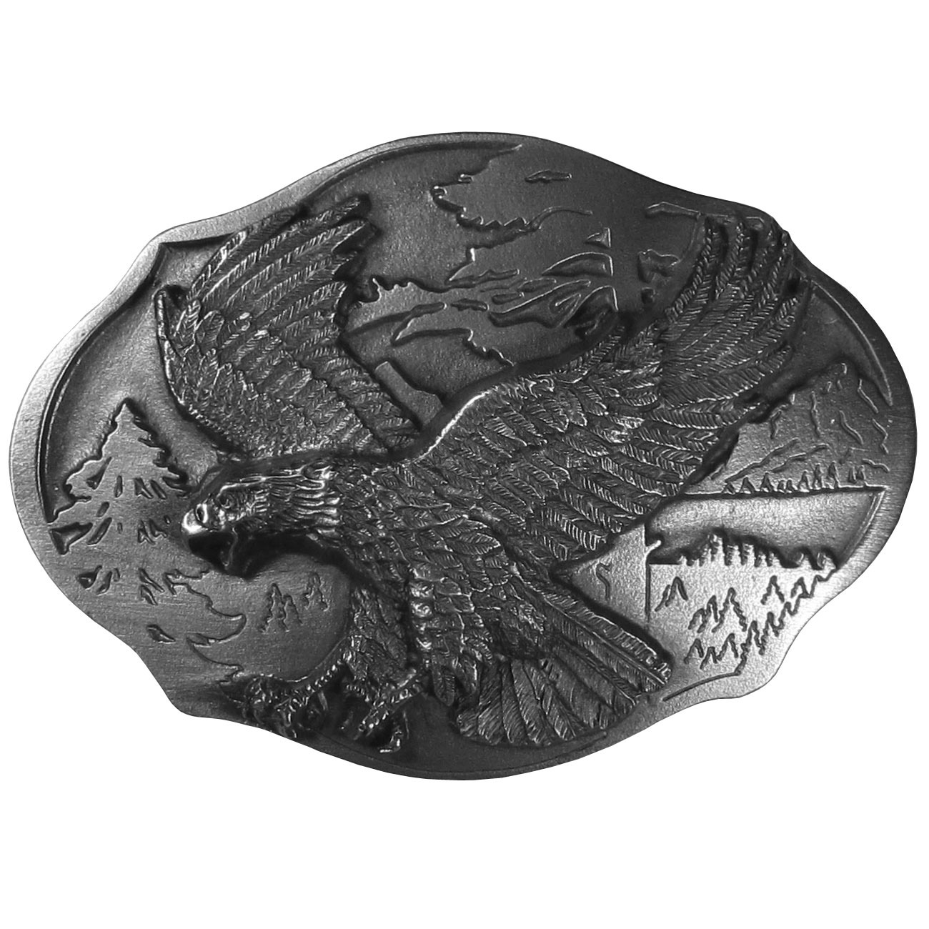 "Flying Eagle  Antiqued Belt Buckle - ""This belt buckle features an eagle landing with trees in the background.  This exquisitely carved buckle is made of fully cast metal with a standard bale that fits up to 2"""" belts."""