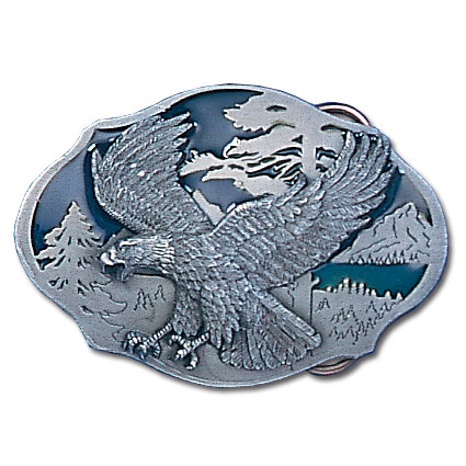 Belt Buckle - Flying Eagle  - This finely sculpted and hand enameled belt buckle contains exceptional 3D detailing. Siskiyou's unique buckle designs often become collector's items and are unequaled with the best craftsmanship.