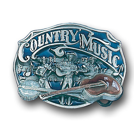 Belt Buckle - Country Music  - This finely sculpted and hand enameled belt buckle contains exceptional 3D detailing. Siskiyou's unique buckle designs often become collector's items and are unequaled with the best craftsmanship.