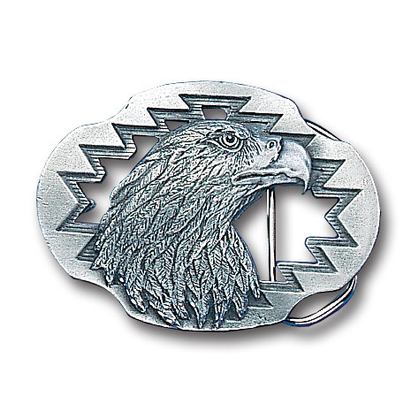 Belt Buckle - Eagle (Diamond Cut and Cutout) - This finely sculpted and diamond cut and cutout  belt buckle contains exceptional 3D detailing. Siskiyou's unique buckle designs often become collector's items and are unequaled with the best craftsmanship.