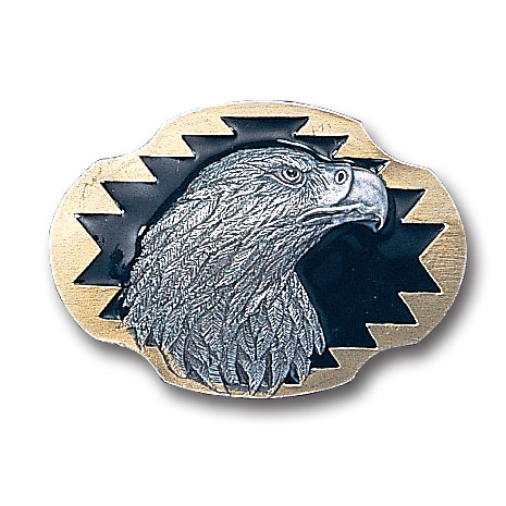 Belt Buckle - Eagle's Profile - This finely sculpted belt buckle contains exceptional 3D detailing and is finished with gold vivatone. Siskiyou's unique buckle designs often become collector's items and are unequaled with the best craftsmanship.
