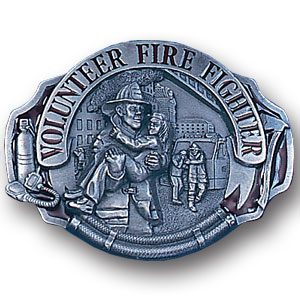 Belt Buckle - Volunteer Fire Fighter - This finely sculpted and hand enameled belt buckle contains exceptional 3D detailing. Siskiyou's unique buckle designs often become collector's items and are unequaled with the best craftsmanship.