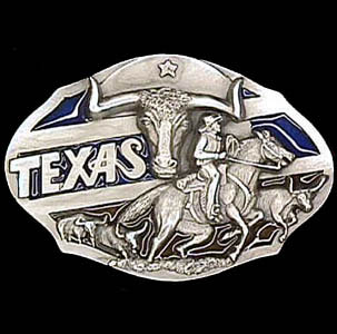 Belt Buckle - Texas Longhorn - This finely sculpted and hand enameled belt buckle contains exceptional 3D detailing. Siskiyou's unique buckle designs often become collector's items and are unequaled with the best craftsmanship.