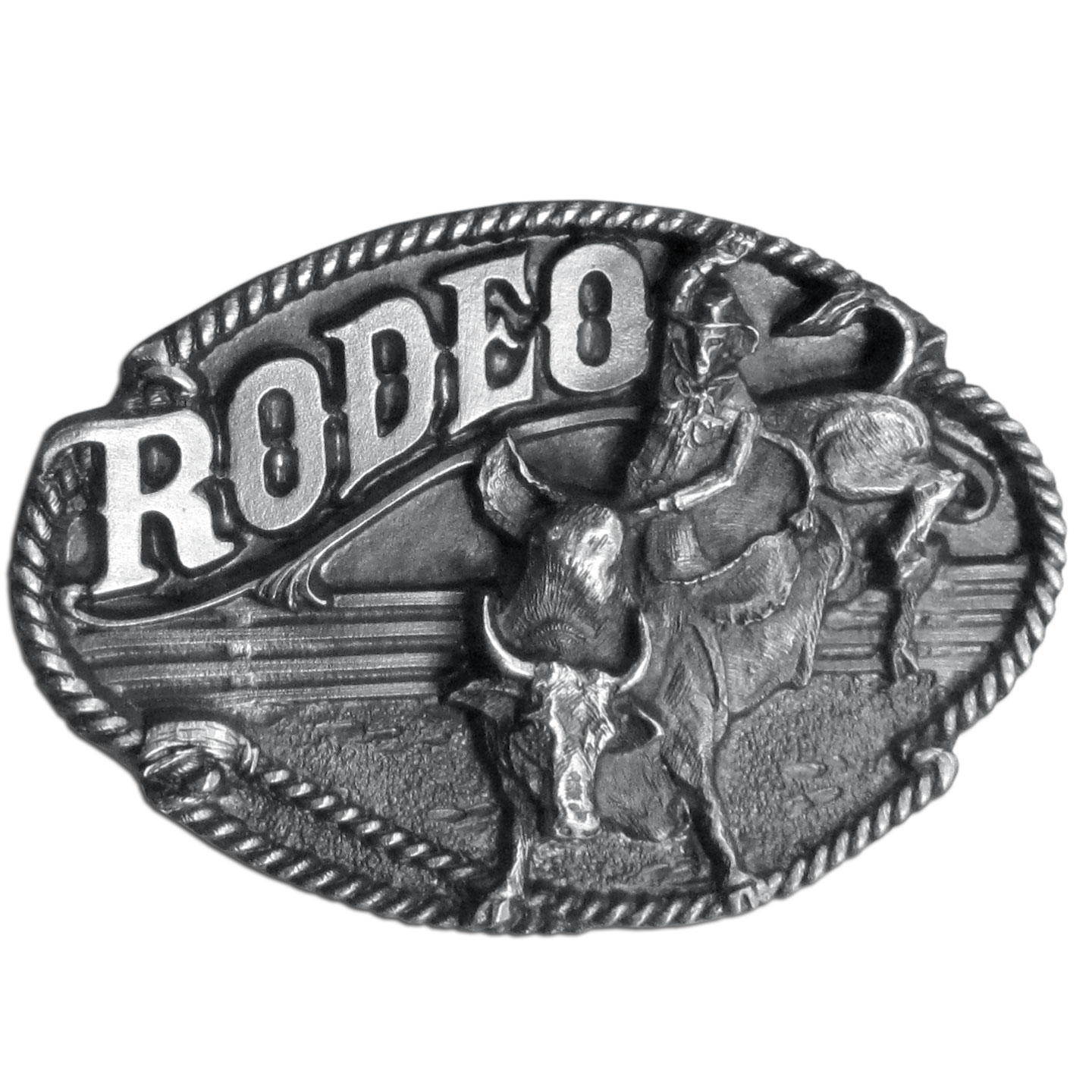 "Rodeo Bull Rider Antiqued Belt Buckle - ""This belt buckle celebrates the Rodeo!  """"Rodeo"""" is written in bold across the top.  There is a cowboy riding a bull in the center of an arena with fencing in the background and it is surrounded by a rope lasso.  This exquisitely carved buckle is made of fully cast metal with a standard bale that fits up to 2"""" belts."""