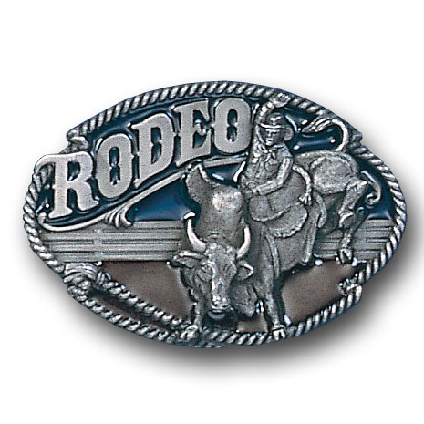 Belt Buckle - Rodeo Bull Rider - This finely sculpted and hand enameled belt buckle contains exceptional 3D detailing. Siskiyou's unique buckle designs often become collector's items and are unequaled with the best craftsmanship.
