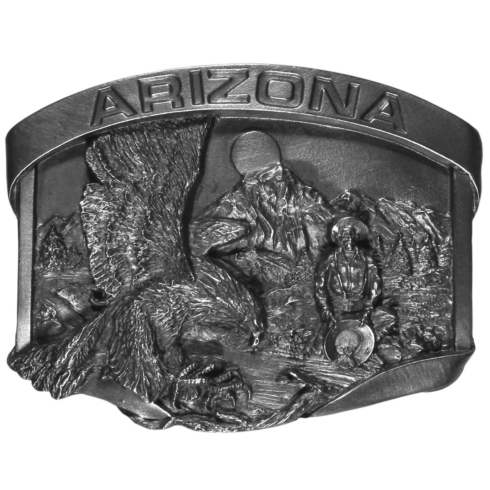 "Arizona Eagle Antiqued Belt Buckle - ""This Arizona belt buckle features ""Arizona"" in bold, an eagle landing and a miner panning for gold in a river with mountains and trees in the background.  This exquisitely carved buckle is made of fully cast metal with a standard bale that fits up to 2"""" belts."""