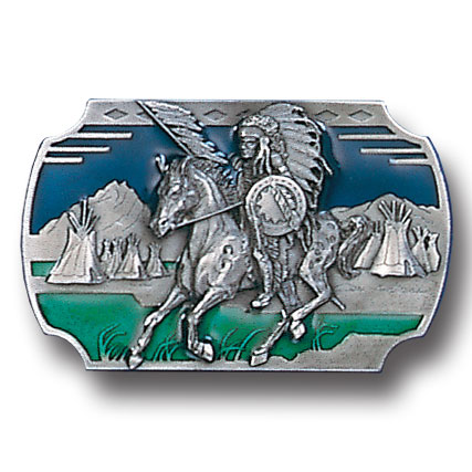 Belt Buckle - Indian on Horse  - This finely sculpted and hand enameled belt buckle contains exceptional 3D detailing. Siskiyou's unique buckle designs often become collector's items and are unequaled with the best craftsmanship.