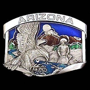 Belt Buckle - Arizona Eagle - This finely sculpted and hand enameled belt buckle contains exceptional 3D detailing. Siskiyou's unique buckle designs often become collector's items and are unequaled with the best craftsmanship.