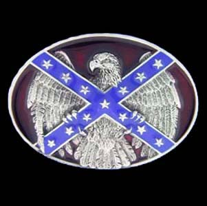 Belt Buckle - Confederate Flag and Eagle - This finely sculpted and hand enameled belt buckle contains exceptional 3D detailing. Siskiyou's unique buckle designs often become collector's items and are unequaled with the best craftsmanship.
