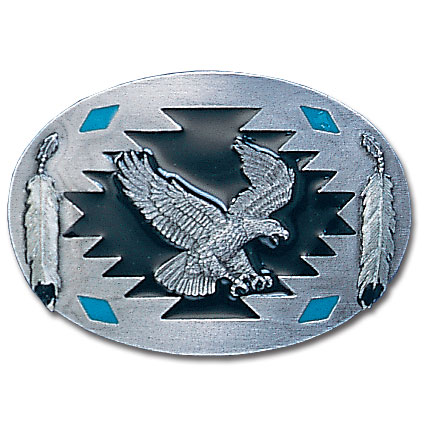 Belt Buckle - Flying Eagle with Feathers  - This finely sculpted and hand enameled belt buckle contains exceptional 3D detailing. Siskiyou's unique buckle designs often become collector's items and are unequaled with the best craftsmanship.