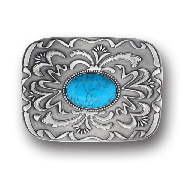 "Belt Buckle - Blue Stone with Western Scroll - Our scroll and blue stone buckle is an update on western style for contemporary tastes. Scroll work is finely sculpted in 3-D detail to accent blue stone at center. Width is approximately 2 3/4"" x 3 3/4""."